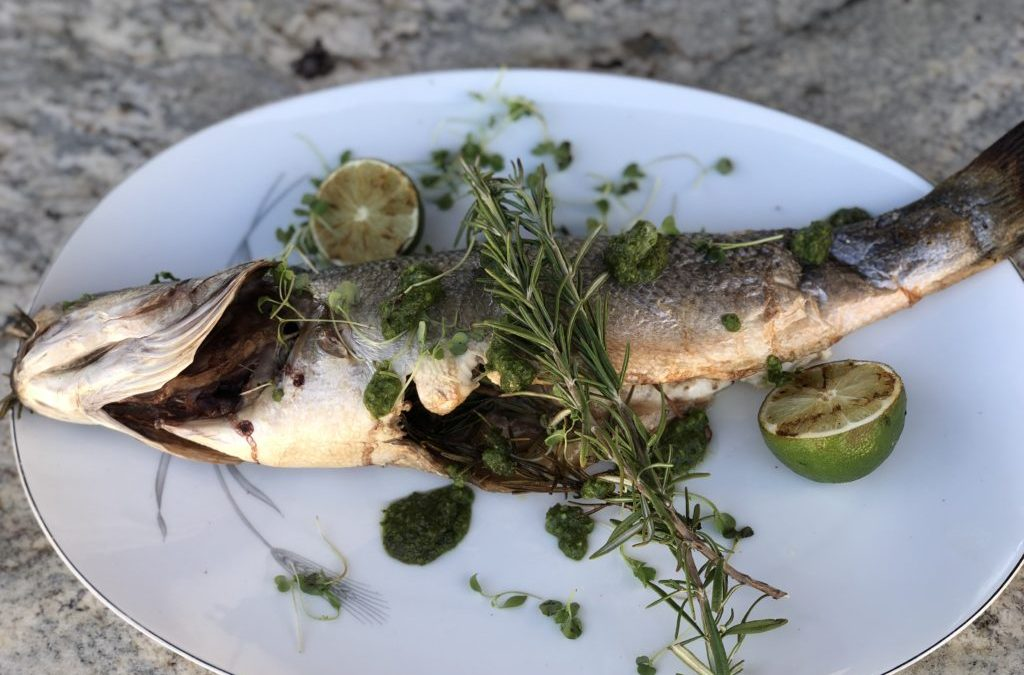 Whole Roasted Snapper & Branzino Fish On Infrared Rotisserie