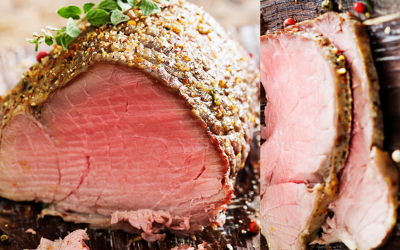 Pepper-Crusted Grilled Beef Tenderloin with Bacon-Infused Potato Packets