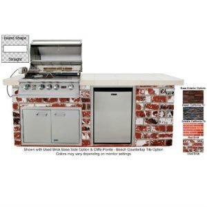 Lion Premium Q BBQ Grill Island in Rock and Brick Finish - 90112