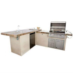"Lion Premium Commercial Stucco Q BBQ Grill Island 105 1/2"" x 96 3/4"" - 90116"